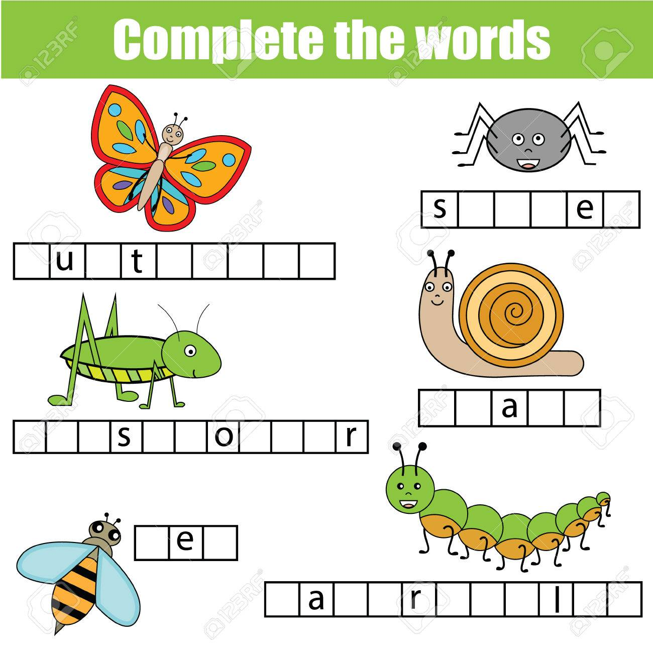 Complete the words children educational game. Learning insects theme and vocabulary - 60203532