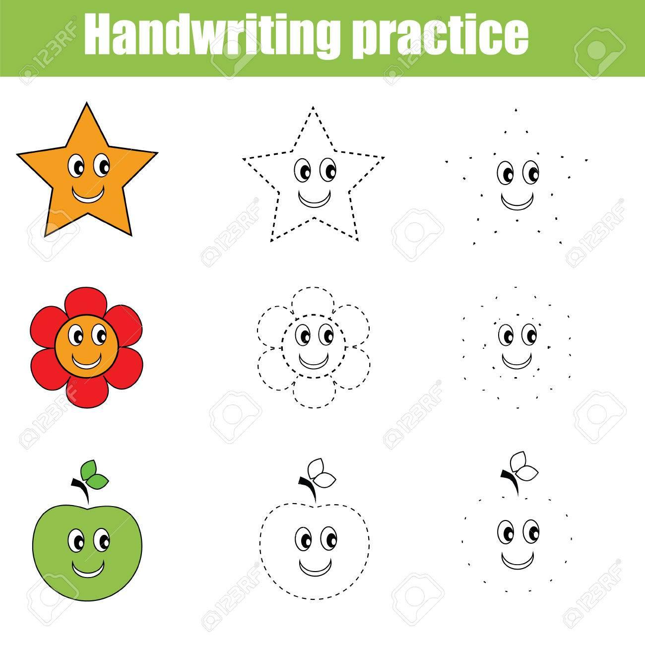 Handschrift Übungsblatt. Educational Kinder-Spiel. Schreiben ...