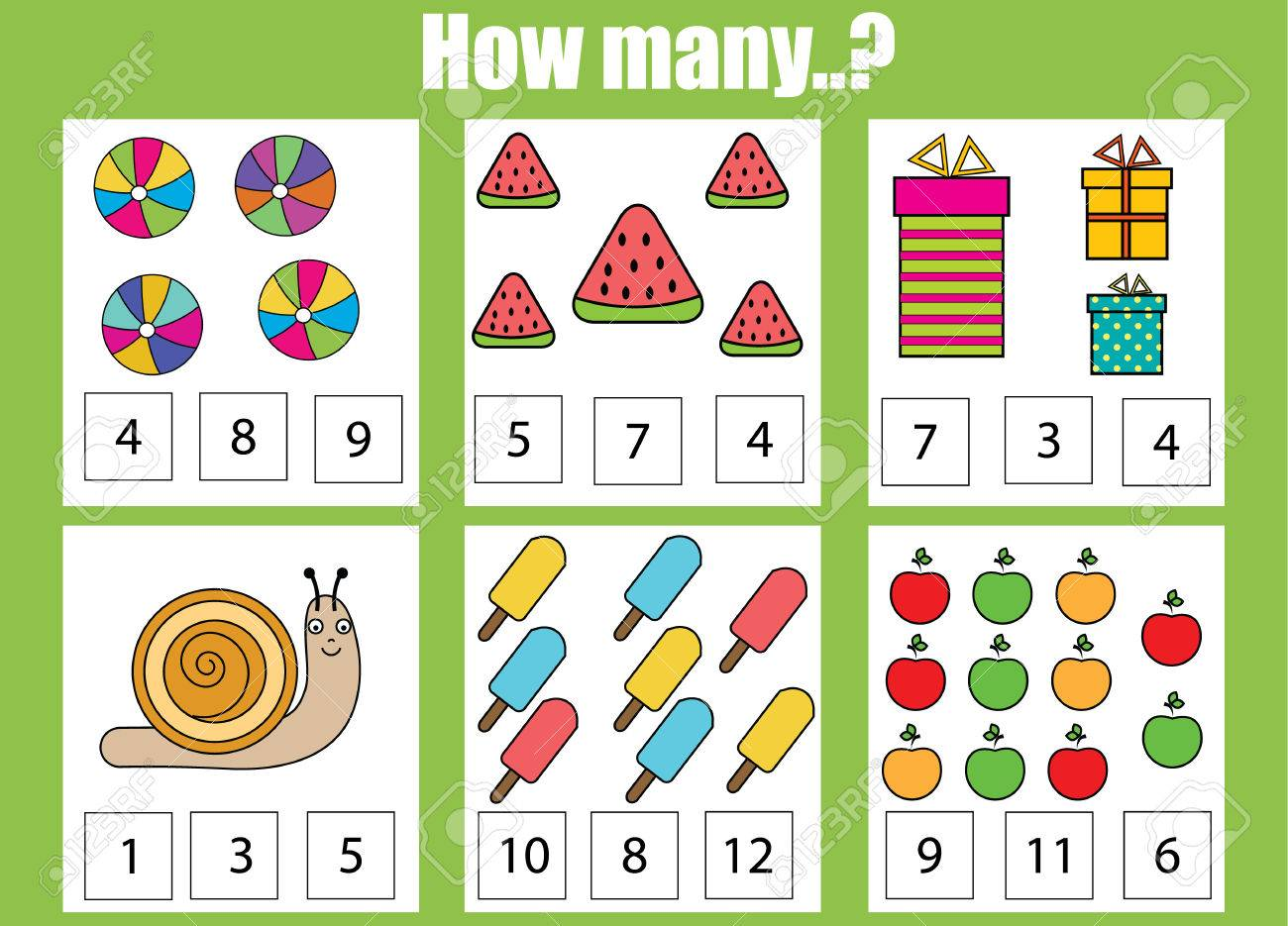 Counting Educational Children Game. How Many Objects Task. Learning ...