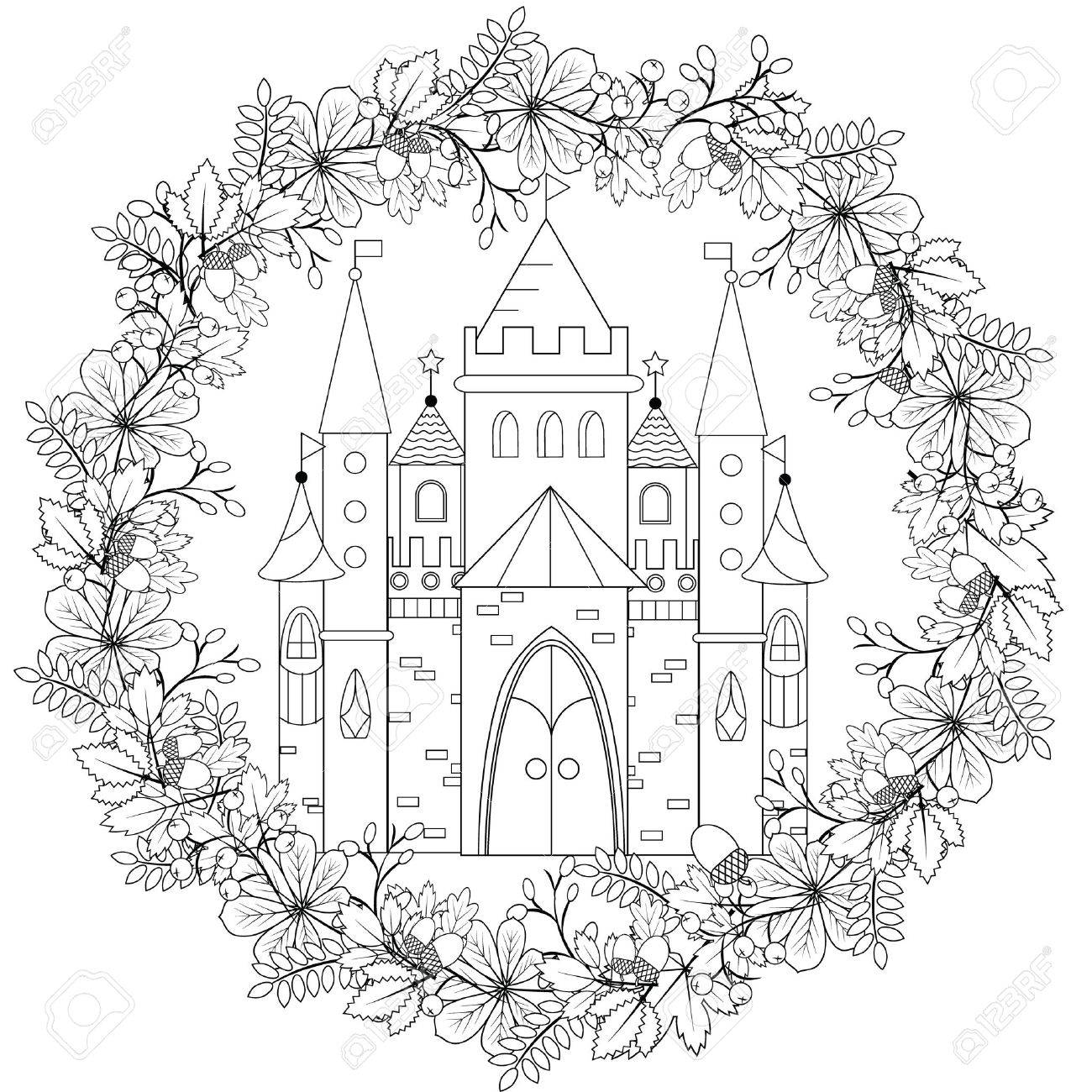 relaxing coloring page with fairy castle in forest wreath for kids and adult art therapy - Free Relaxing Coloring Pages