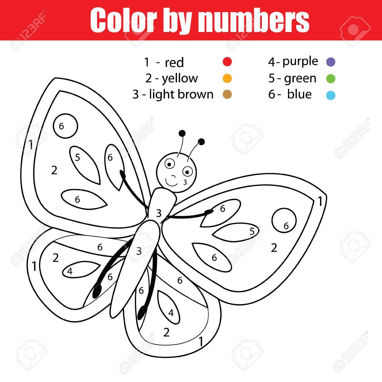 Malvorlage Mit Schmetterling. Farbe Durch Zahlen Pädagogische Kinder ...