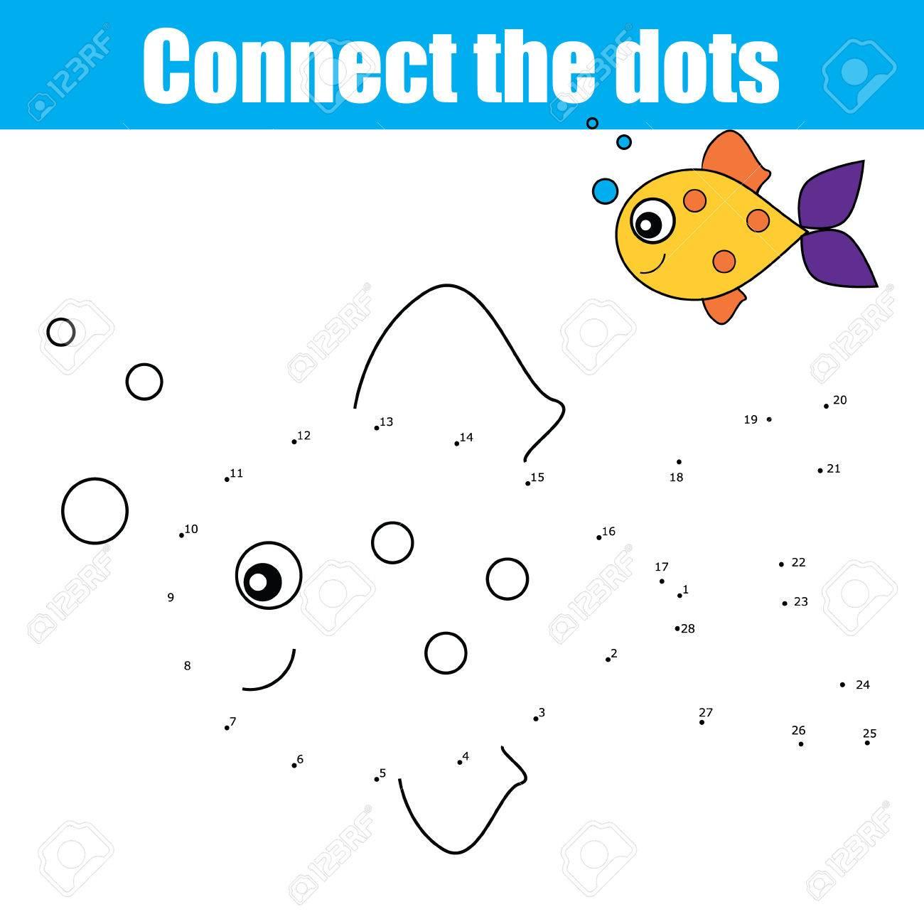 Verbinden Sie Die Punkte Durch Zahlen Pädagogische Zeichnung Kinder ...