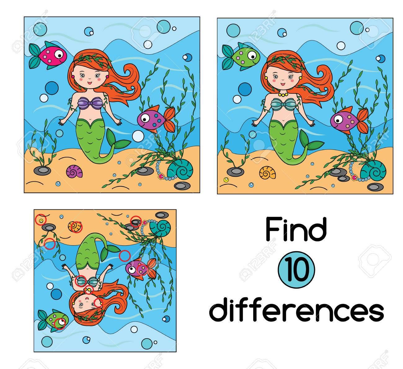 Finden Sie Die Unterschiede Pädagogische Kinder-Spiel Mit Antwort ...