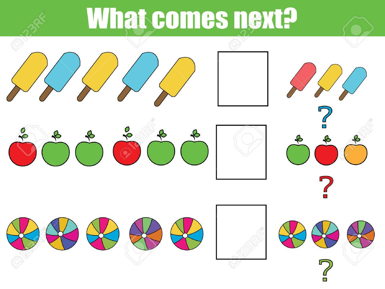 What comes next educational children game. Kids activity sheet, training logic, continue the row task - 60203608