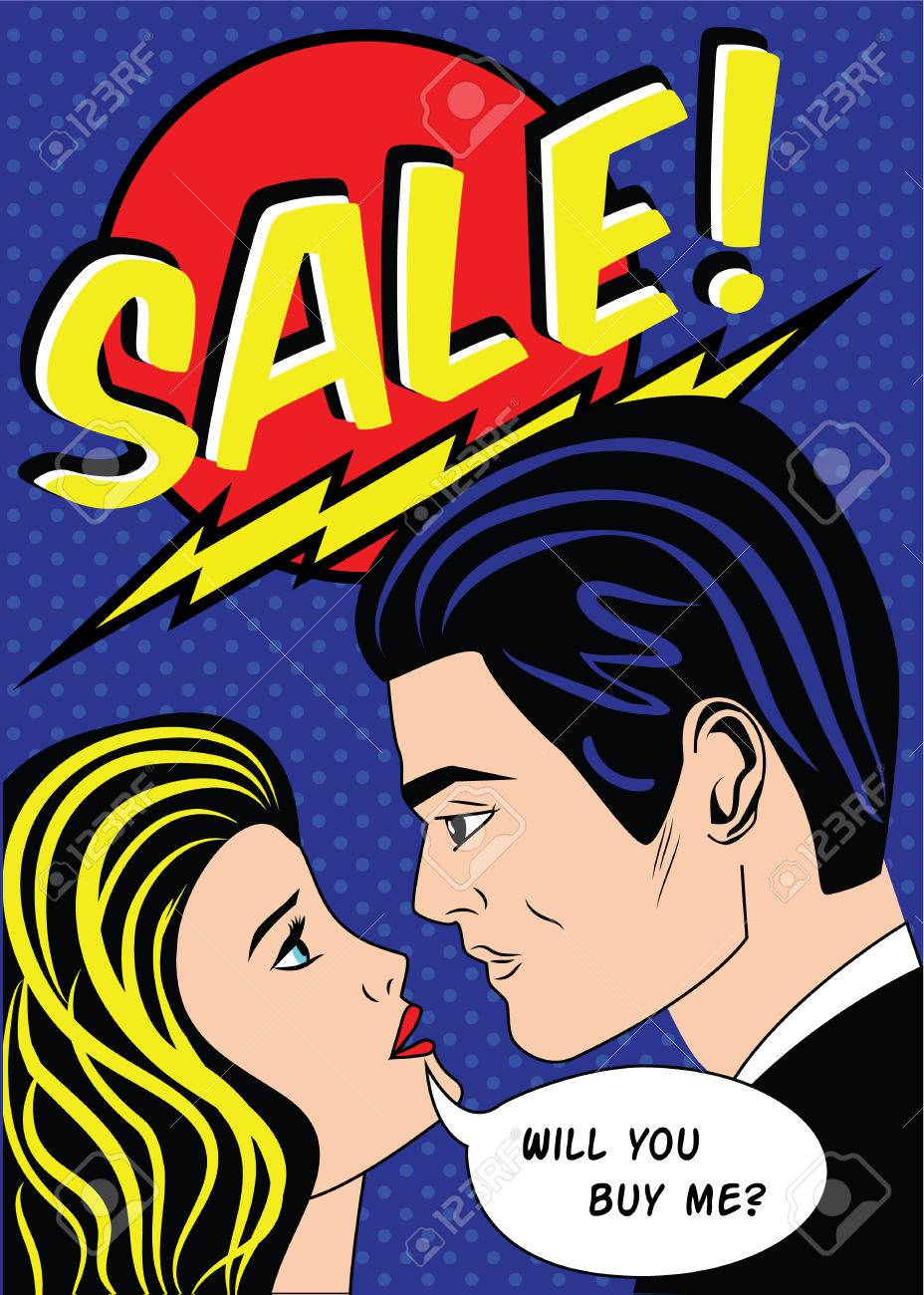 sale banner with man and woman in vintage american comic pop