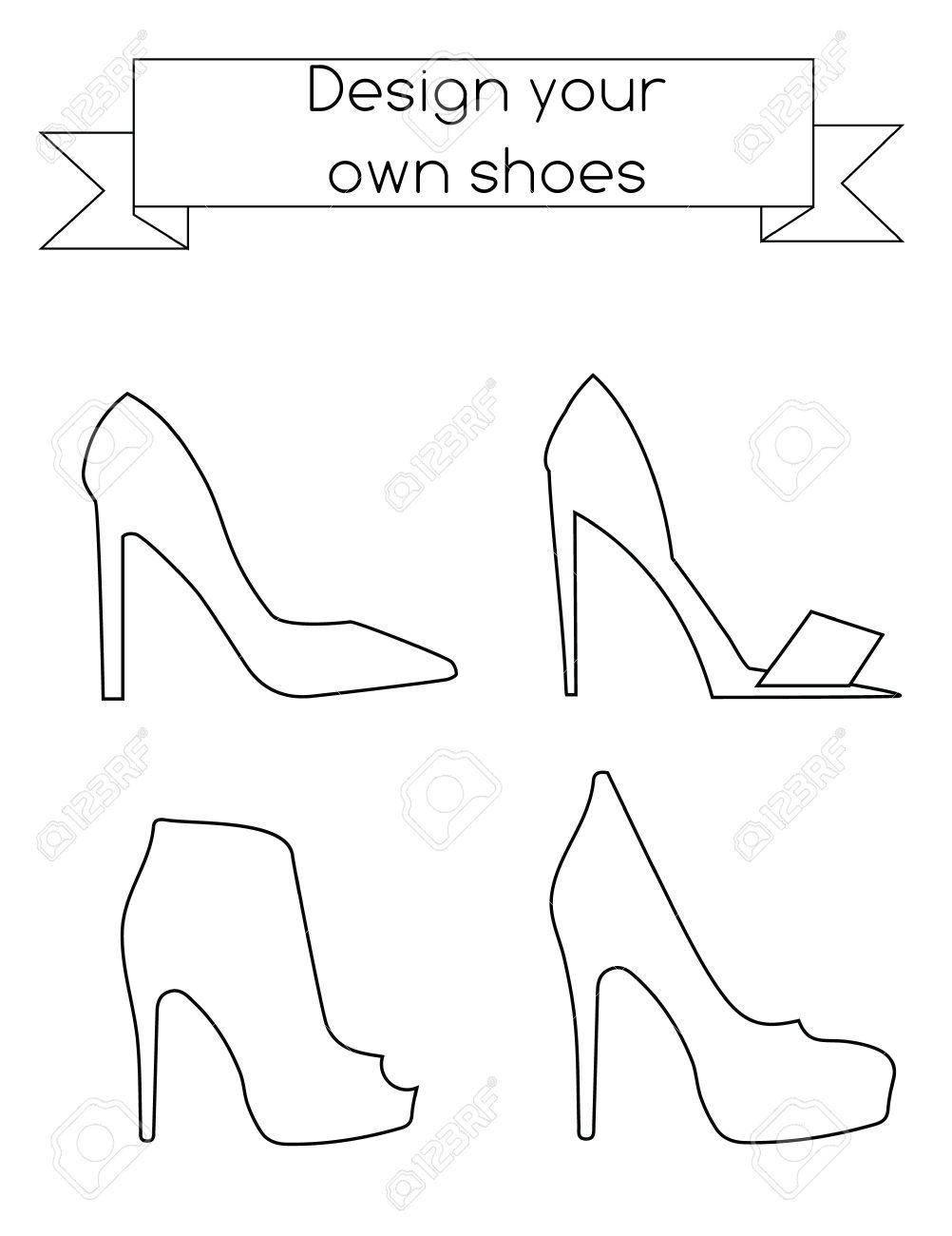 Malvorlagen für Erwachsene Schuhe