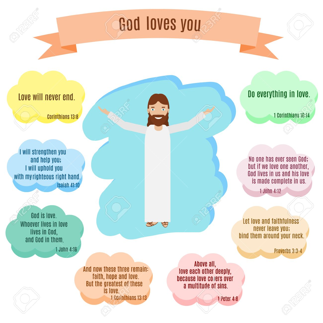 Biblical Love Quotes God Loves You Vector Illustrationsmiling Jesus And Bible Quotes
