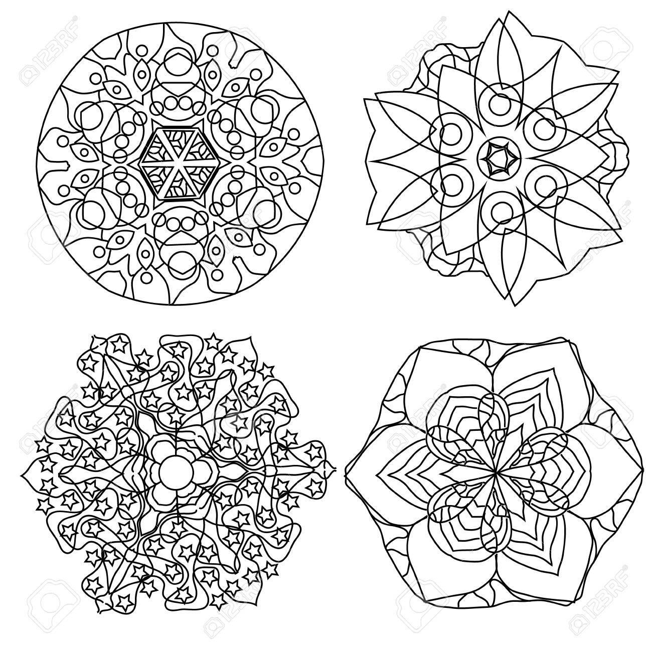 Vettoriale Rilassante Colorare Mandala Con Vettore O Fantasia