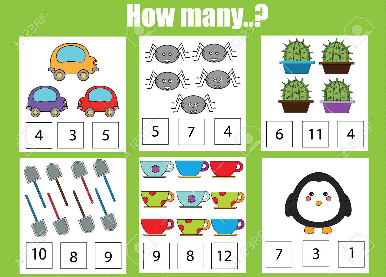 Counting Educational Children Game, Kids Activity Sheet. How ...