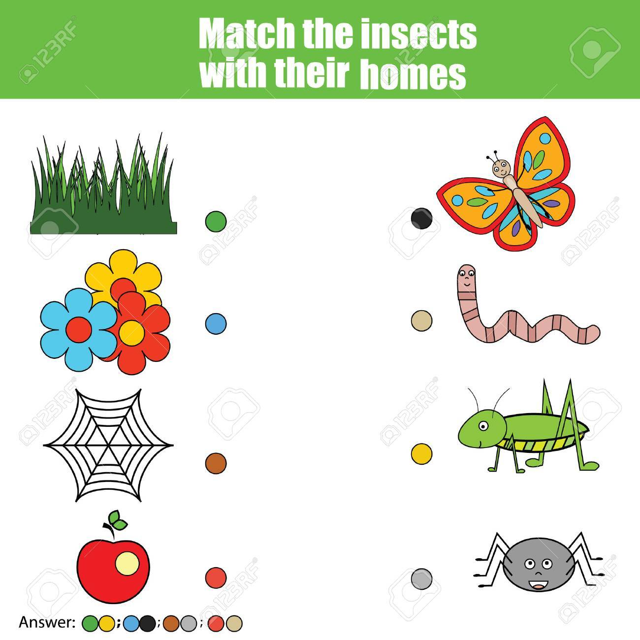 Match the insects with homes children education game  Learning