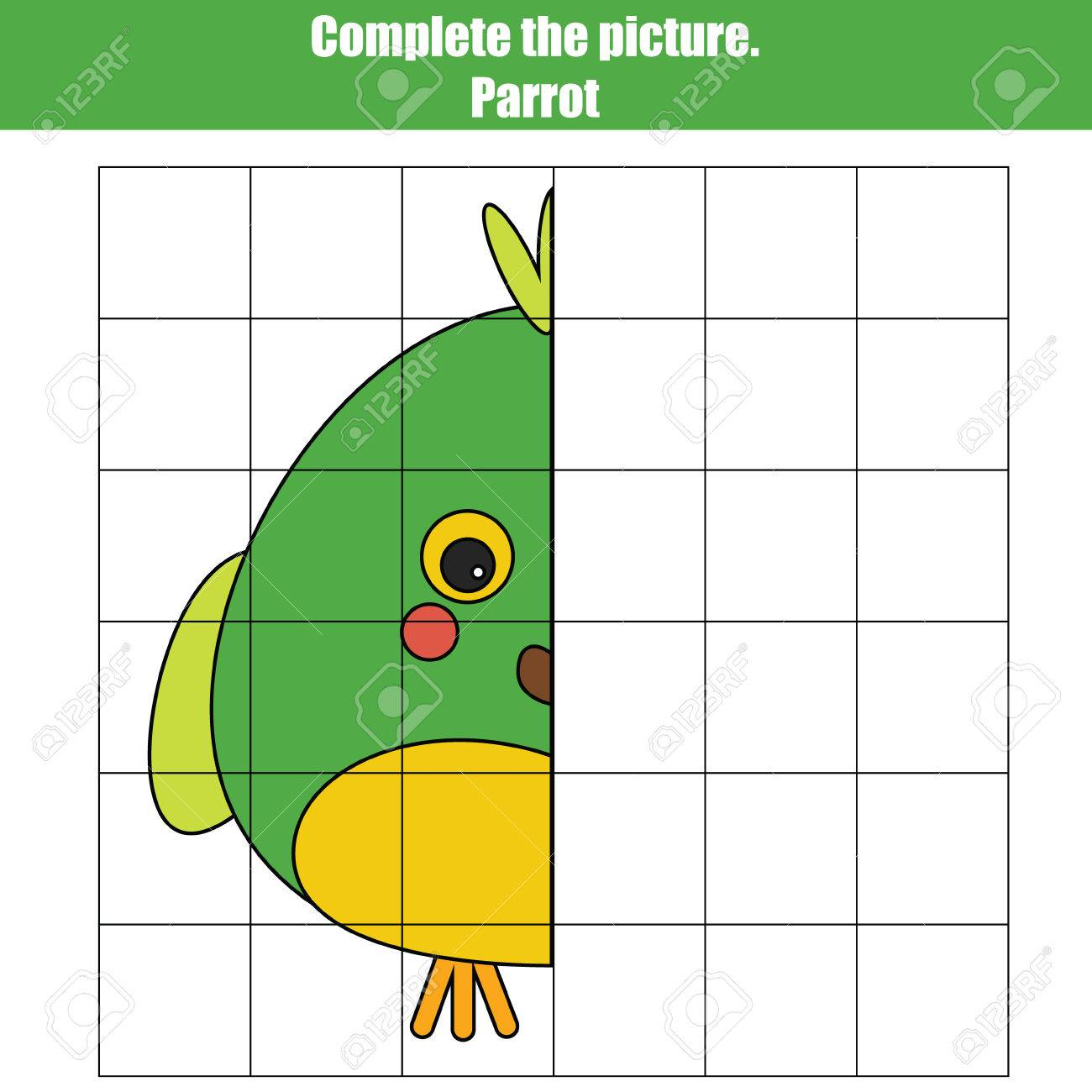 Grid Copy Game, Complete The Picture Children Game, Coloring ...