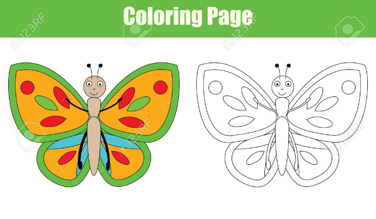 Coloring Page With Butterfly Drawing Game For Children Copy Colors Book Kids Activity Stock