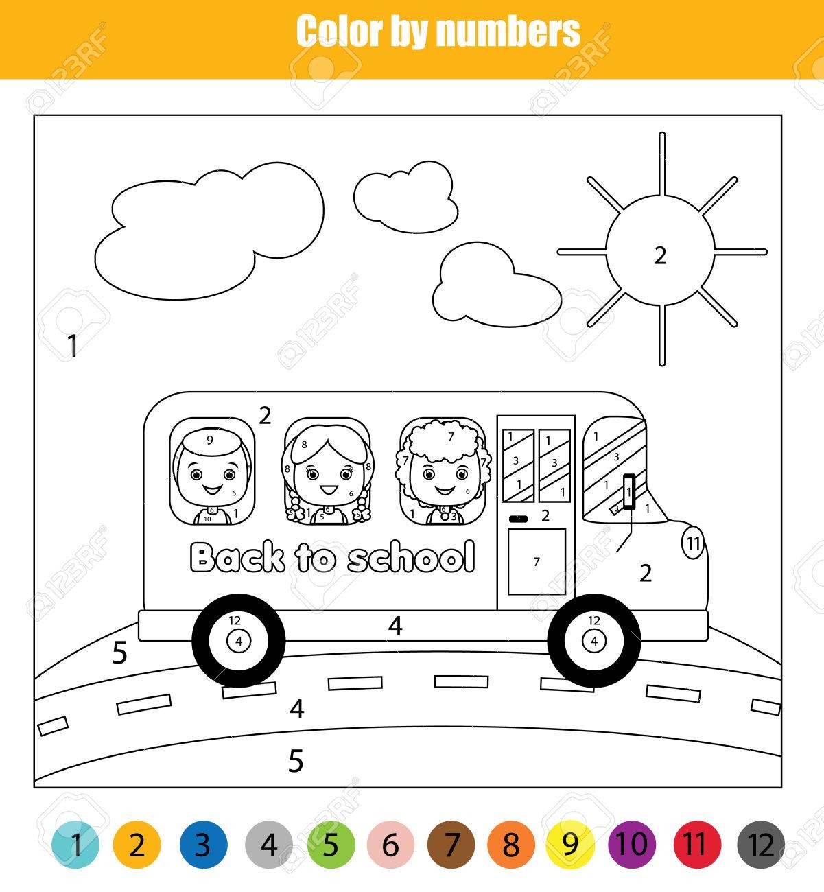 Malvorlage Mit Kindern Im Schulbus Unterwegs. Farbe Durch Zahlen ...
