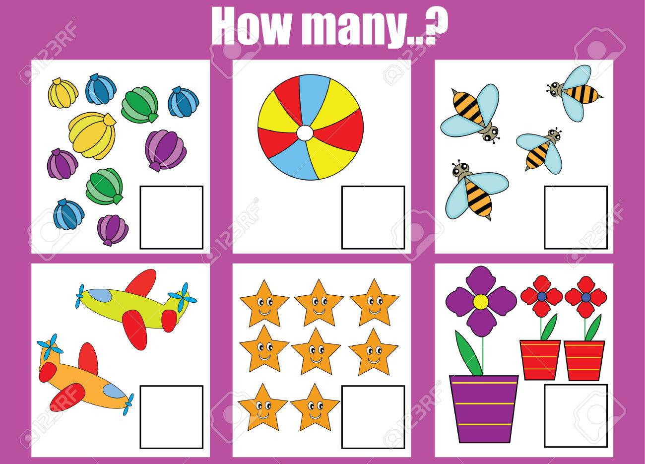 Counting educational children game. How many objects task. Learning..