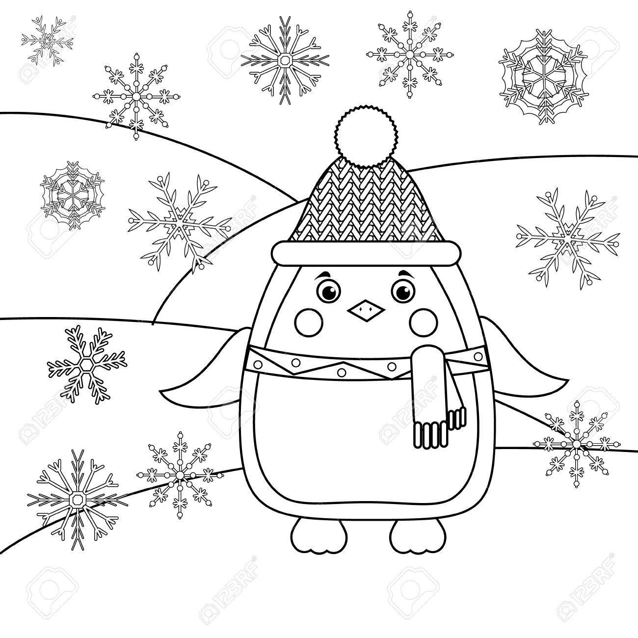 Kleurplaten Thema Dieren.Kleurplaat Met Pinguin In Hoed En Sjaal En Sneeuwvlokken Educatief