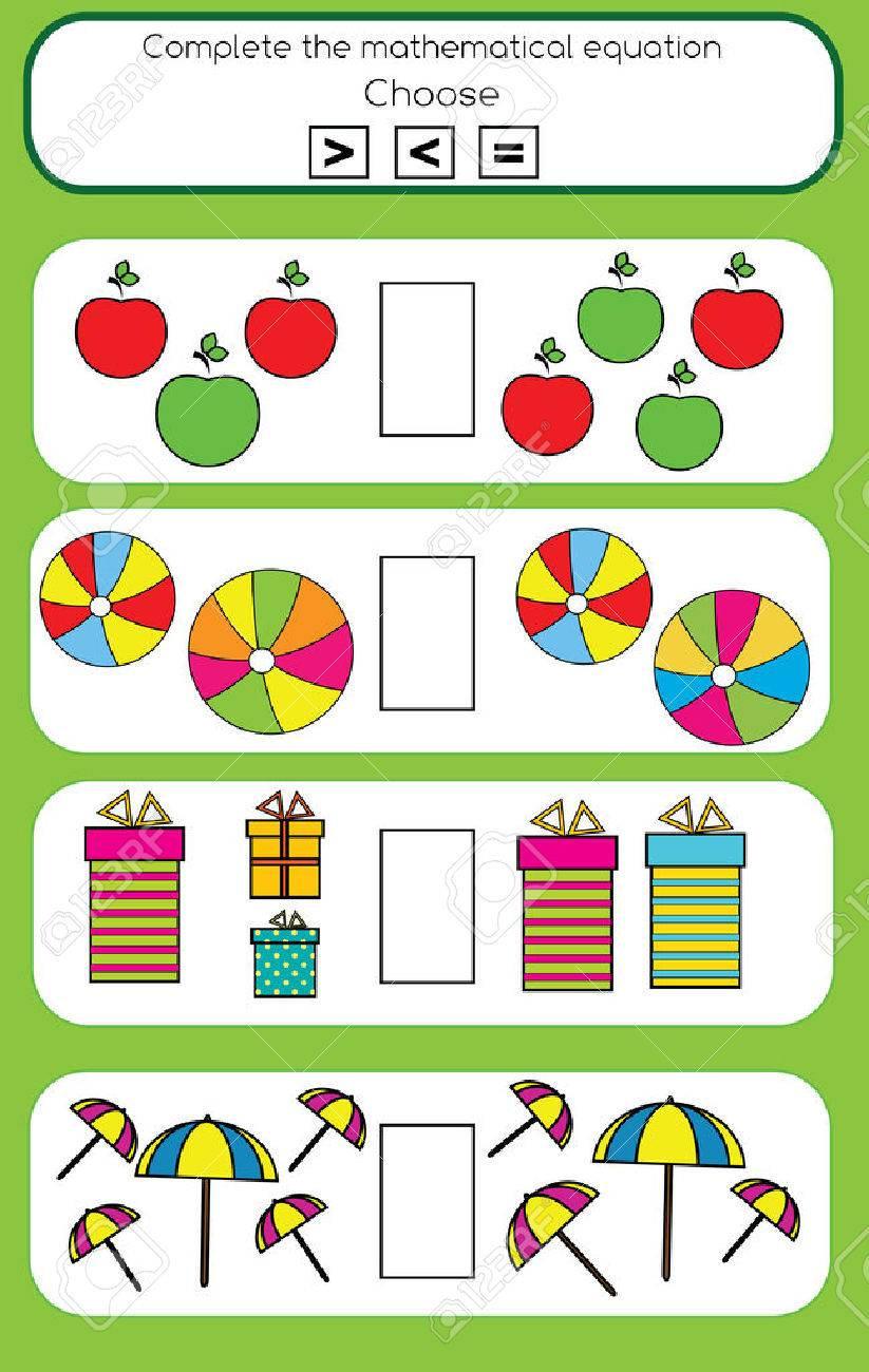 Mathematics educational game for children. Learning counting and algebra kids activity. Complete the mathematical equation task, choose more, less or equal - 60995230