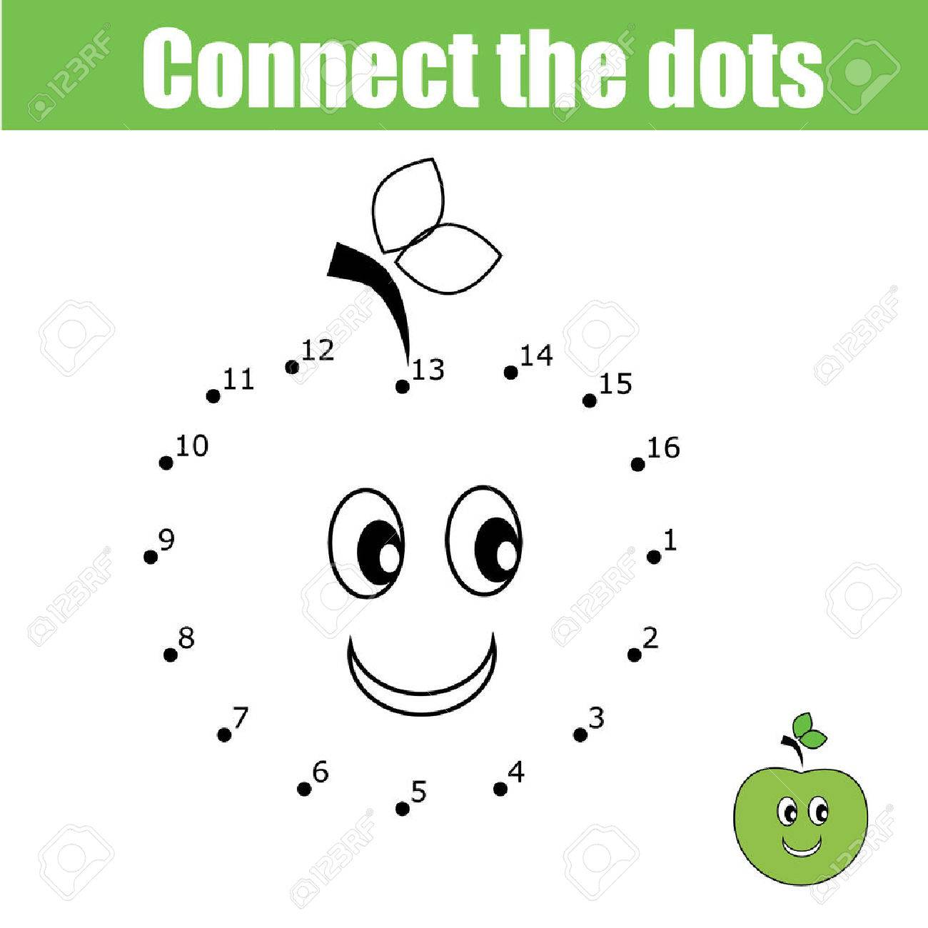 Connect the dots educational drawing children game. Dot to dot numbers activity for kids. Preschool age - 61717548