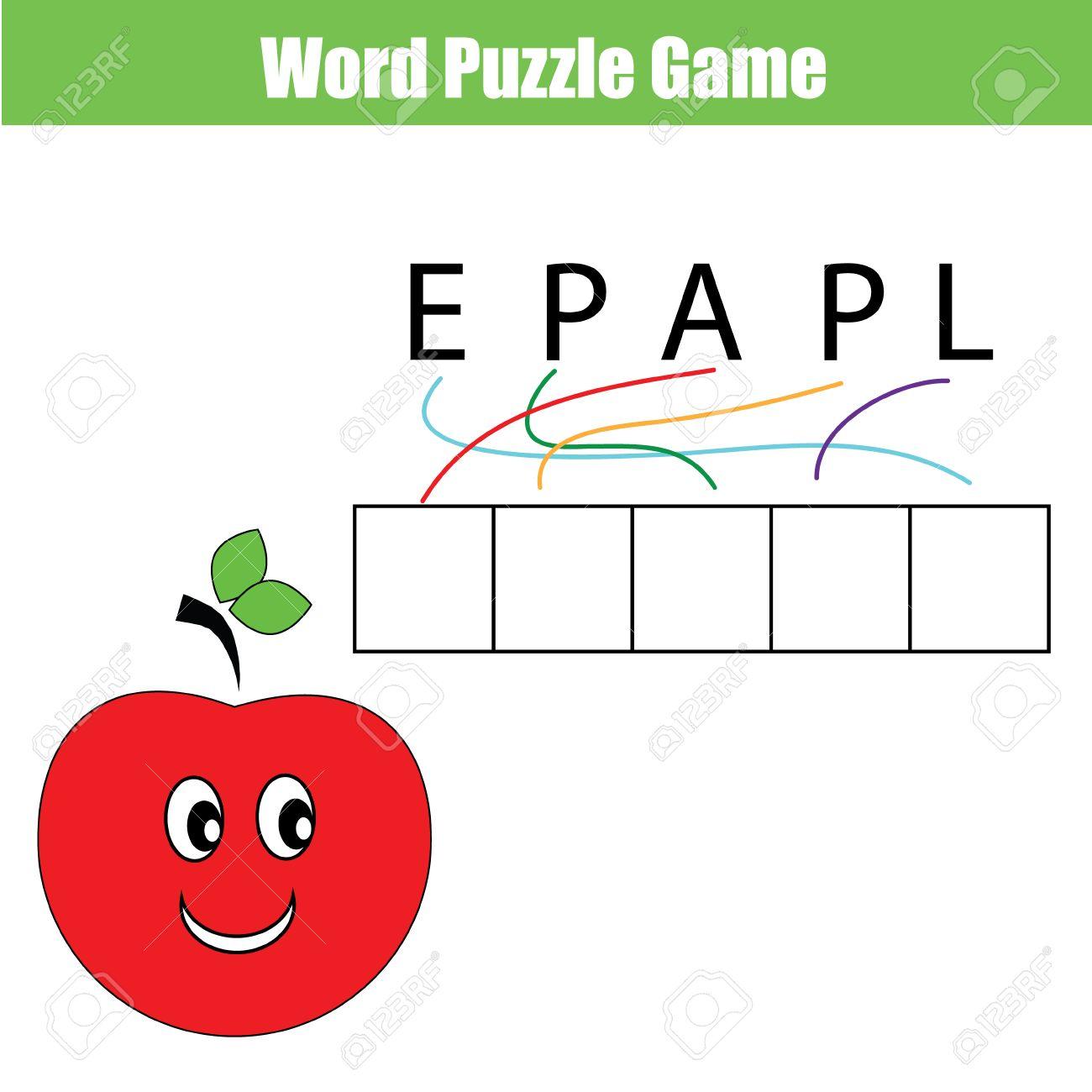 Wörter Kinder Lernspiel Mit Labyrinth Rätsel. Legen Sie Die ...