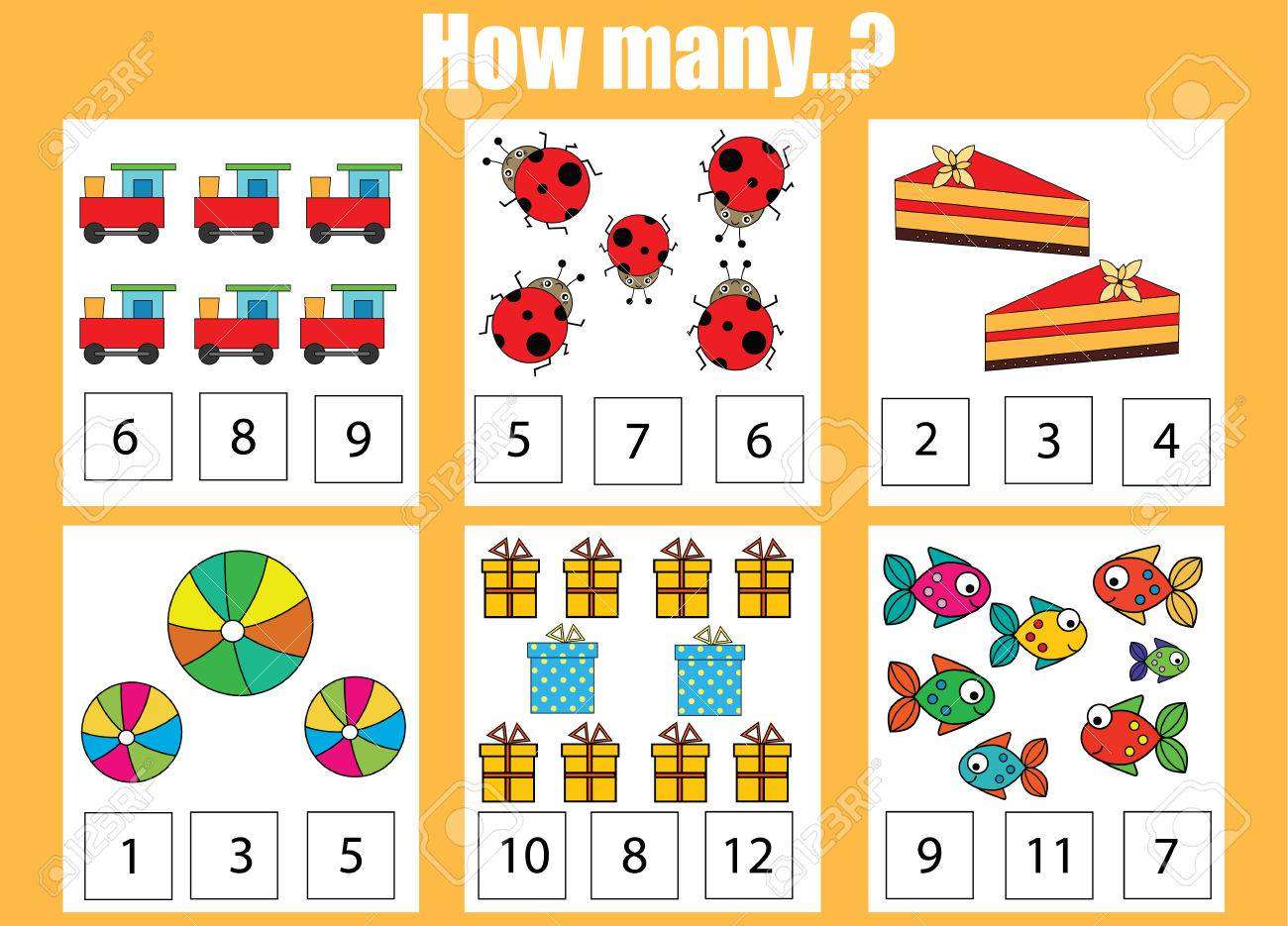 Counting educational children game, kids activity sheet. How..
