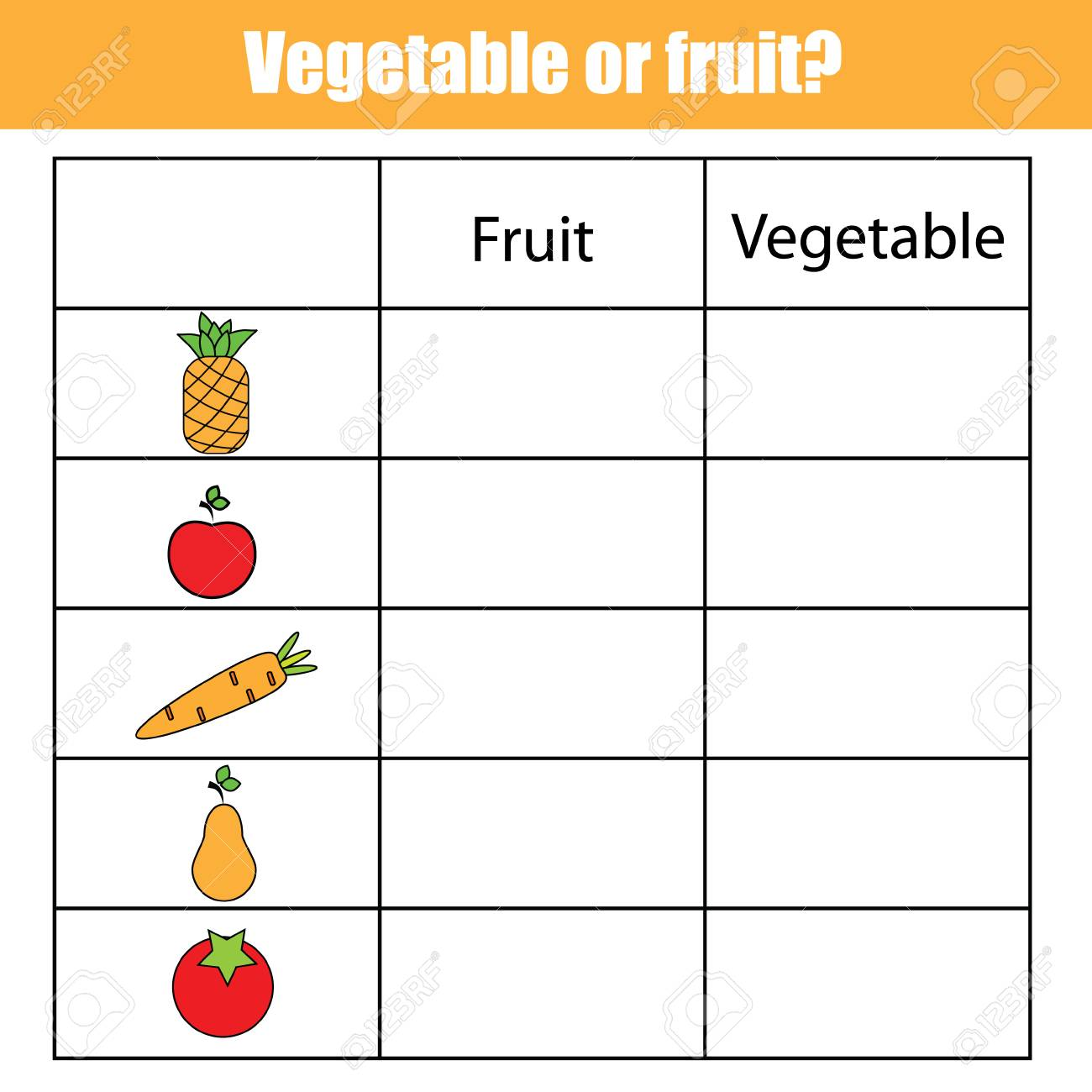 picture regarding Vegetable Printable identified as Fruit or vegetable informative small children sport, printable young children..