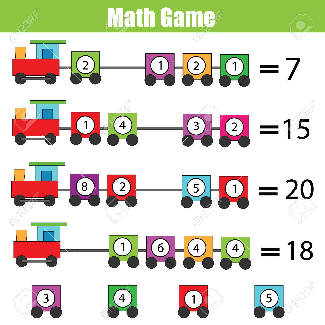 Mathematics Educational Game For Childrenplete The Equation, Learning  Counting, Addition Stock Vector