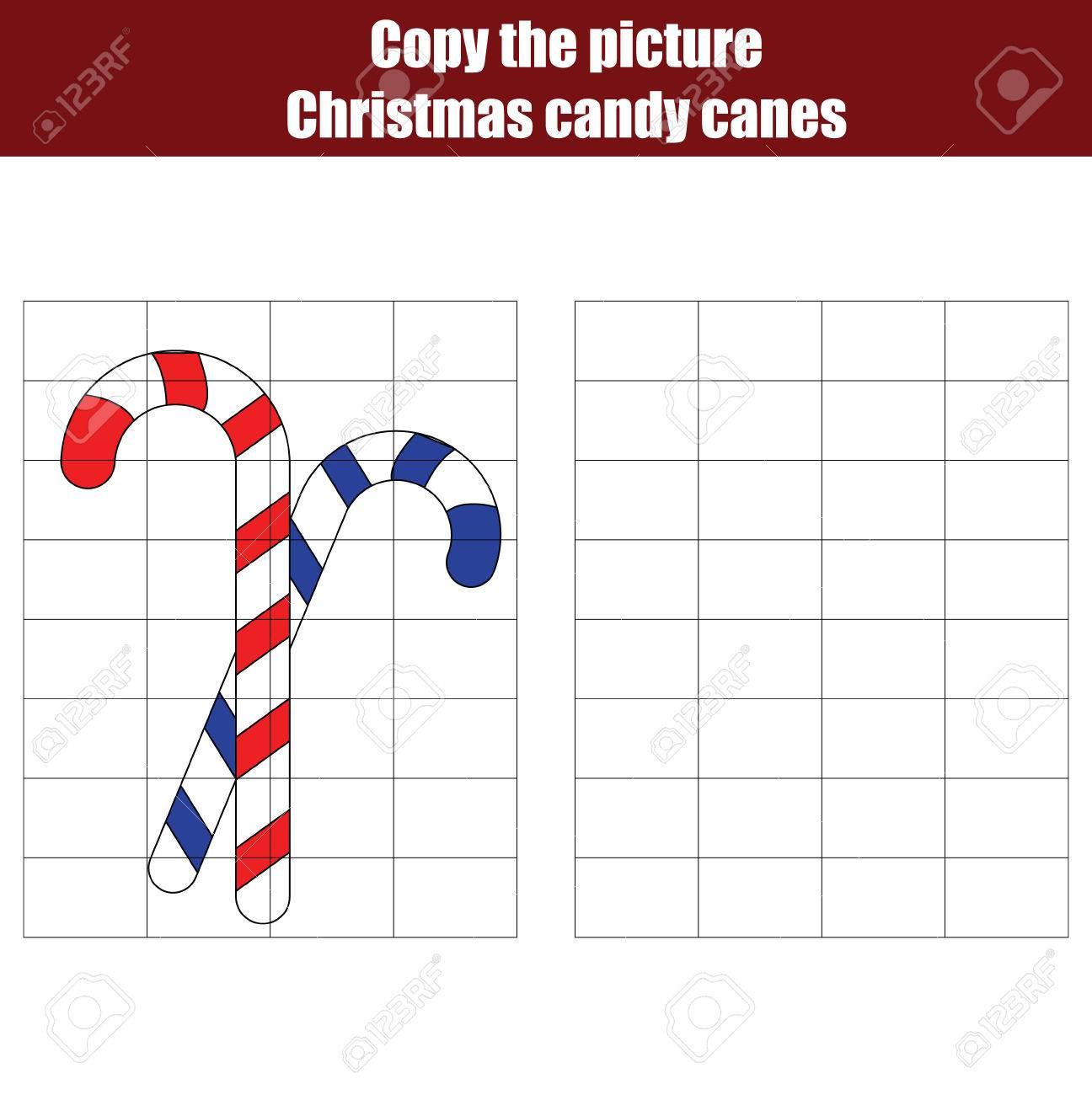Copiar Los Bastones De Caramelo De La Navidad Usando Una Cuadrícula ...