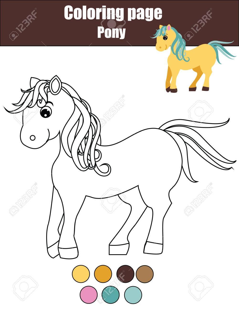 Vettoriale Pagina Da Colorare Con Pony Carino Colorare La Poca Attivita Di Disegno Cavallo Gioco Educativo Per I Bambini Gli Animali Tema Image 63020213