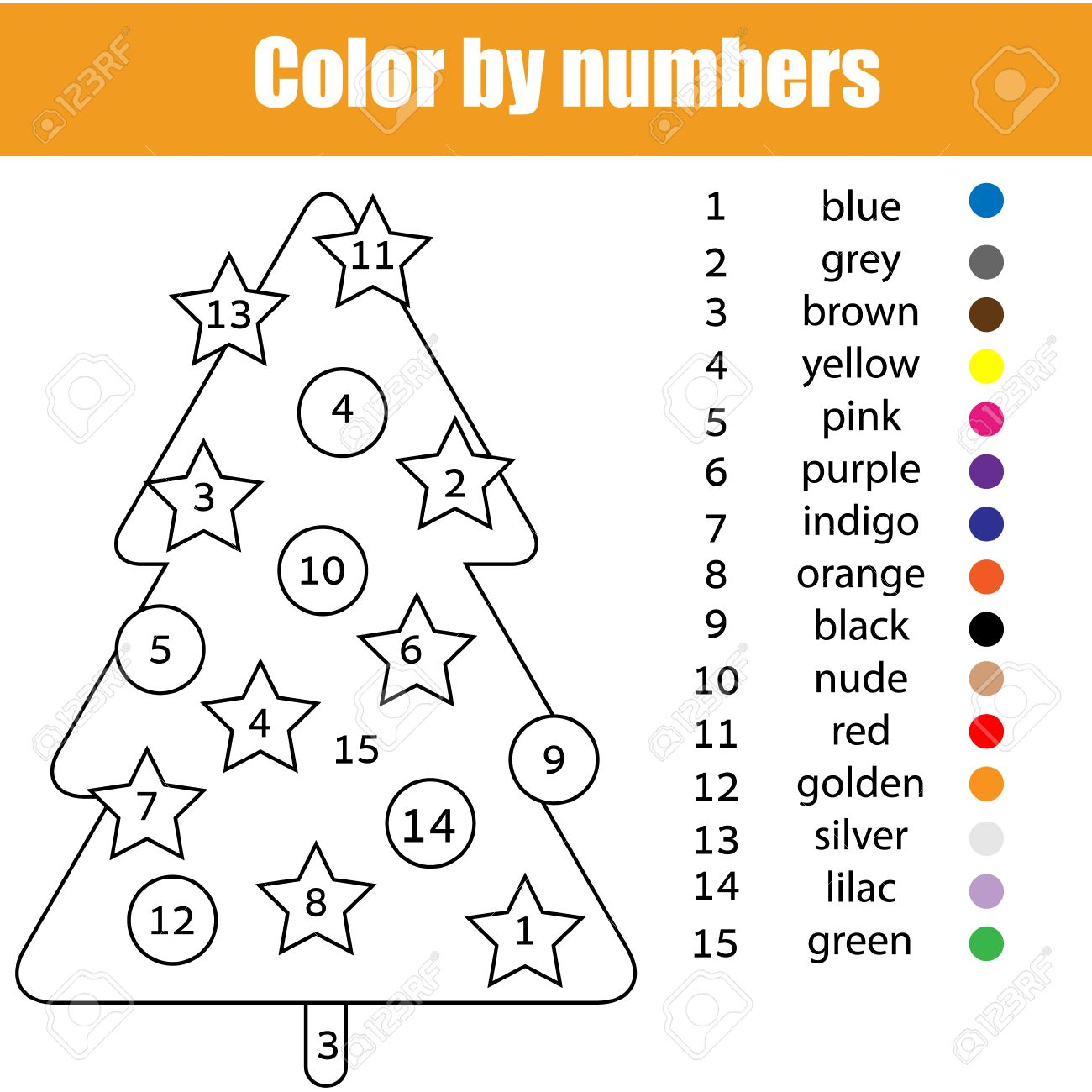 Dibujo Para Colorear Con El árbol De Navidad. Color Por El Número De ...