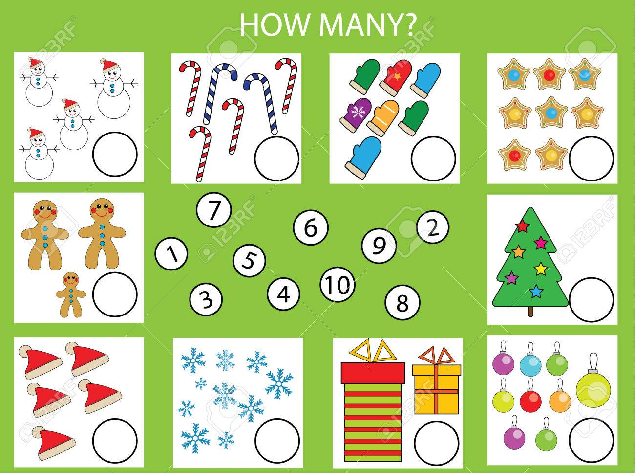 Counting educational children game, kids activity worksheet. How many objects task, christmas theme. Learning mathematics, numbers, addition theme - 63021919