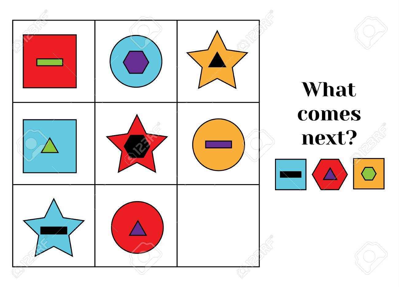 What comes next educational children game. Kids activity sheet, training logic, continue the row task. Learning shapes and colors - 63021922