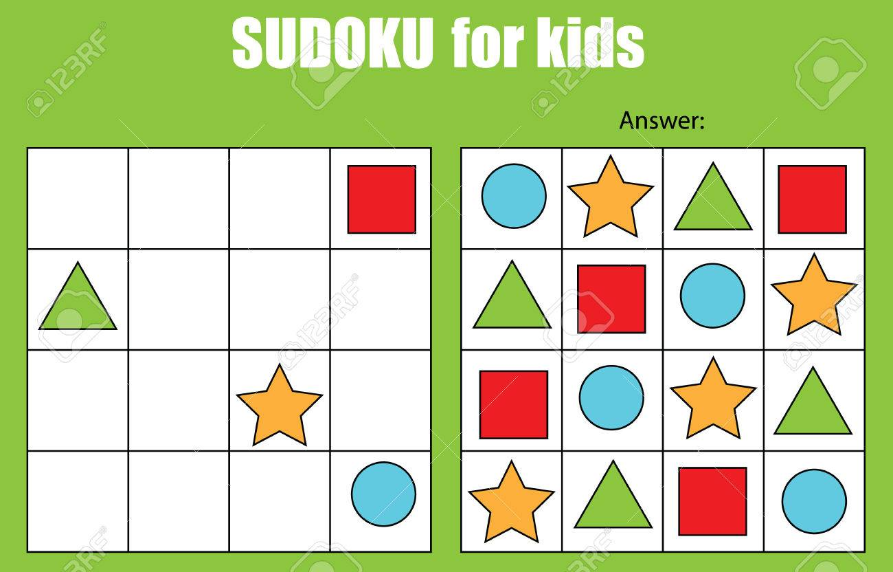 Sudoku Juego Para Niños Con Imágenes. Niños Hoja De Actividades ...