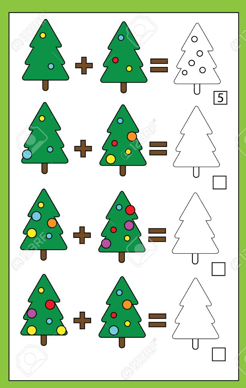 0e8ded8dbc5d Foto de archivo - Matemáticas juego educativo para los niños. conteo de  aprendizaje, además de la hoja de trabajo para los niños, tema de la Navidad