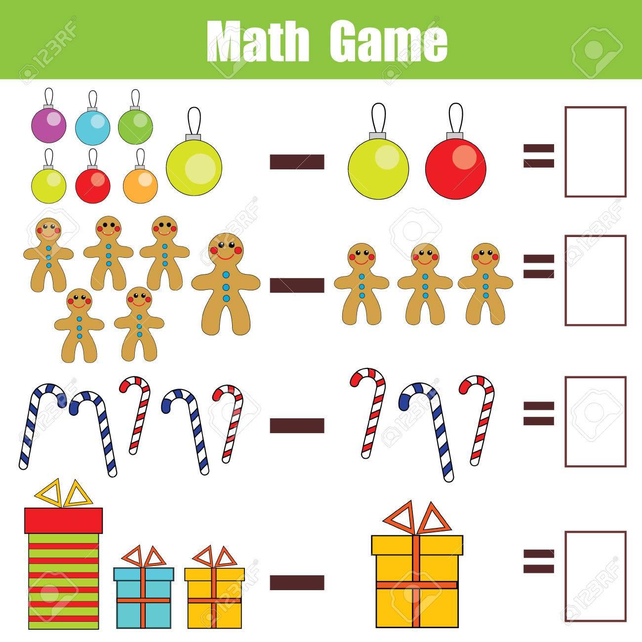 Mathematik Lernspiel Für Kinder. Lernen Subtraktion Arbeitsblatt Für ...