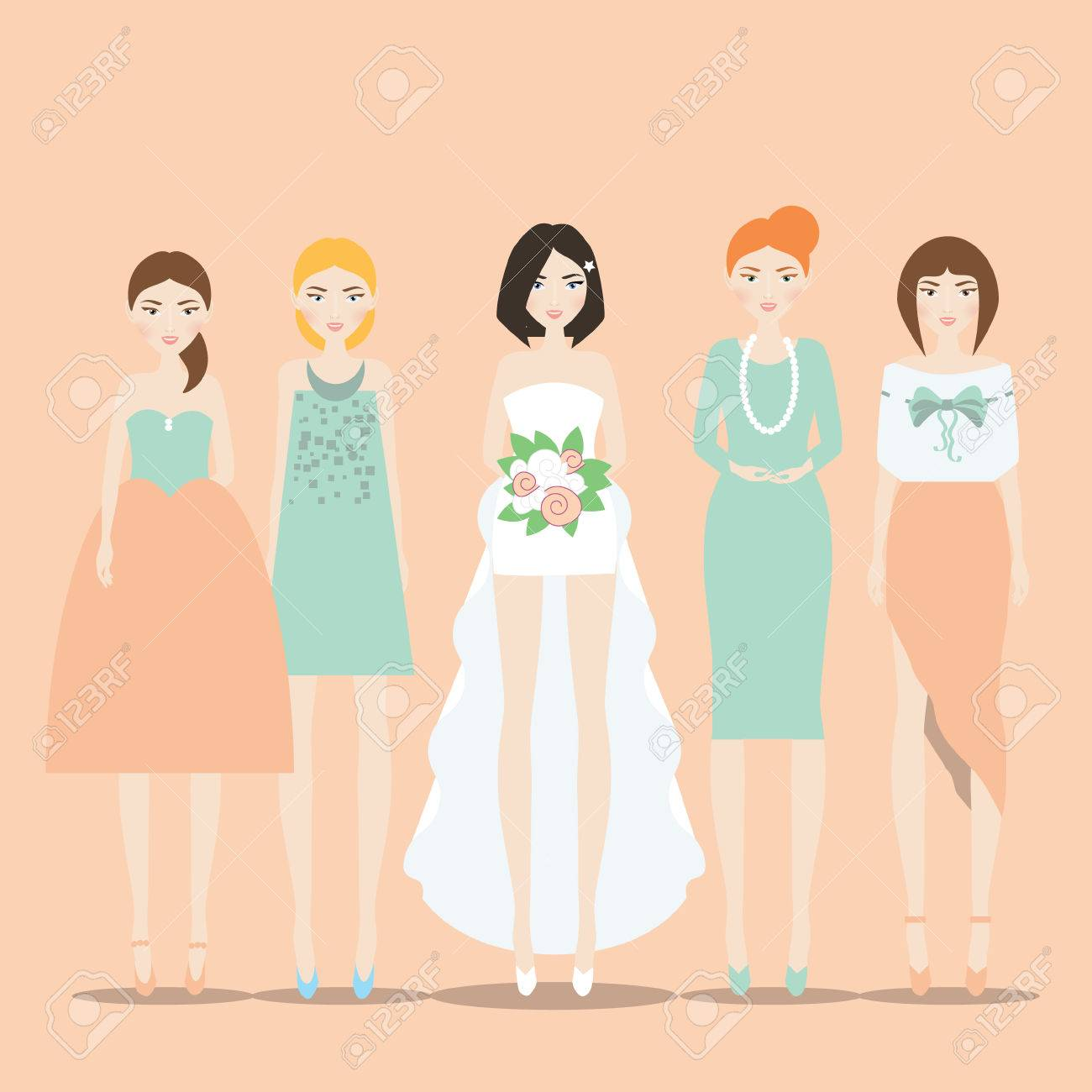 Novia, Novia En El Vestido Con El Tren Y Sus Damas De Honor ...