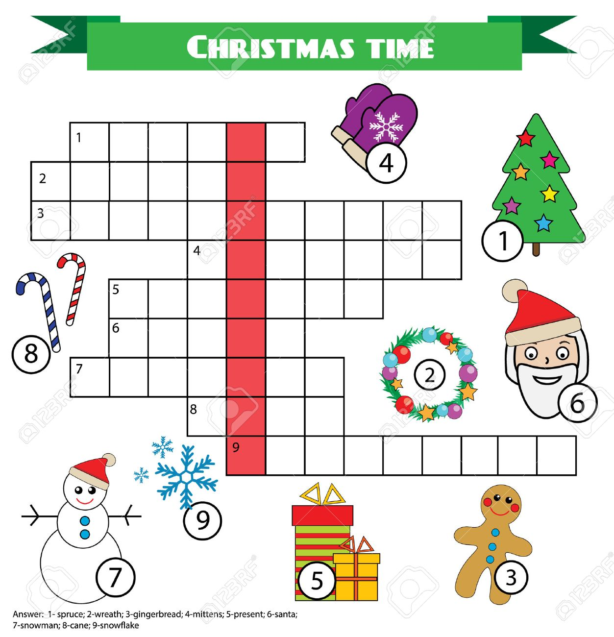 crossword educational children game with answer learning vocabulary printable worksheet christmas new
