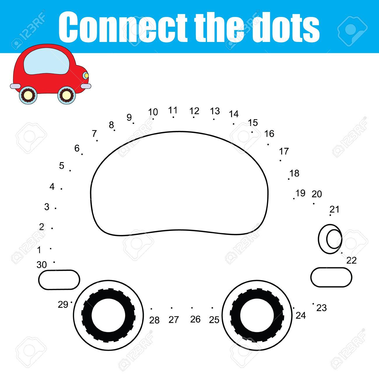 Verbinden Sie Die Punkte Kinder Pädagogische Zeichnung Spiel. Dot ...