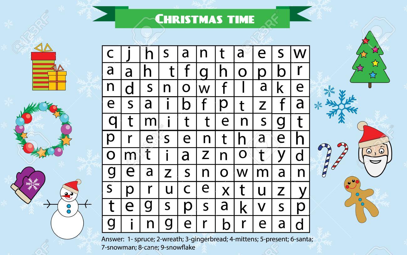 Word-Suche Puzzle Kinder Tätigkeit Blatt. Weihnachten Winter Urlaub ...