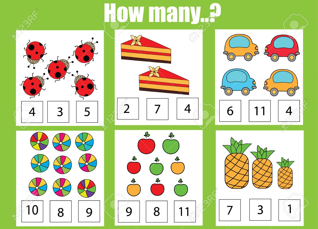 Counting educational children game, kids activity worksheet. How many objects task. Learning mathematics, numbers, addition theme - 64847323