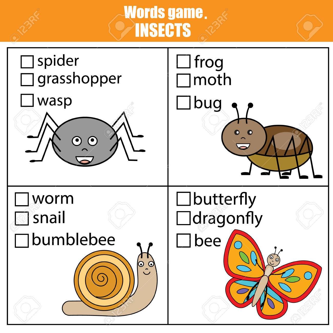 Wörter Testen Lernspiel Für Kinder. Tiere Insekten Thema, Vokabeln ...