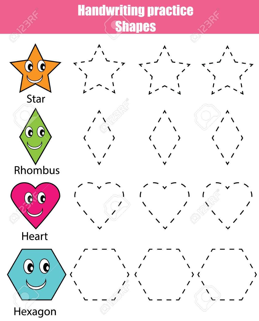 Handwriting practice sheet. Educational children game. Writing training. Kids activity. Learning geometry shapes printable worksheet - 64848187