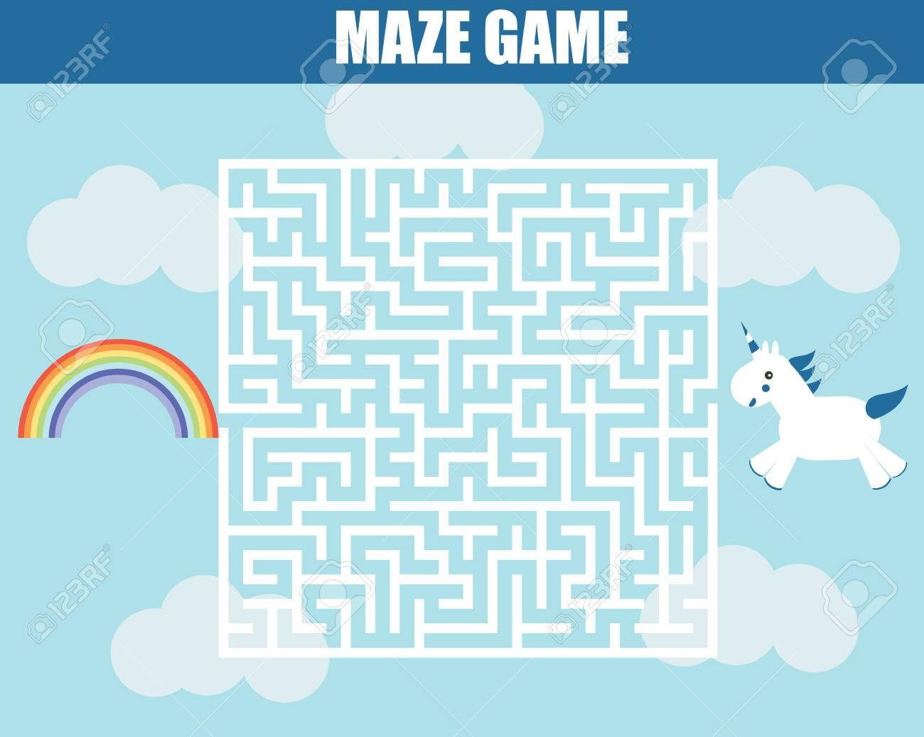 Maze Children Game Help The Unicorn Girl Go Through The Labyrinth