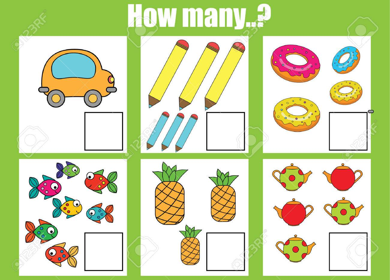 Counting Educational Children Game, Kids Activity Worksheet... Stock ...