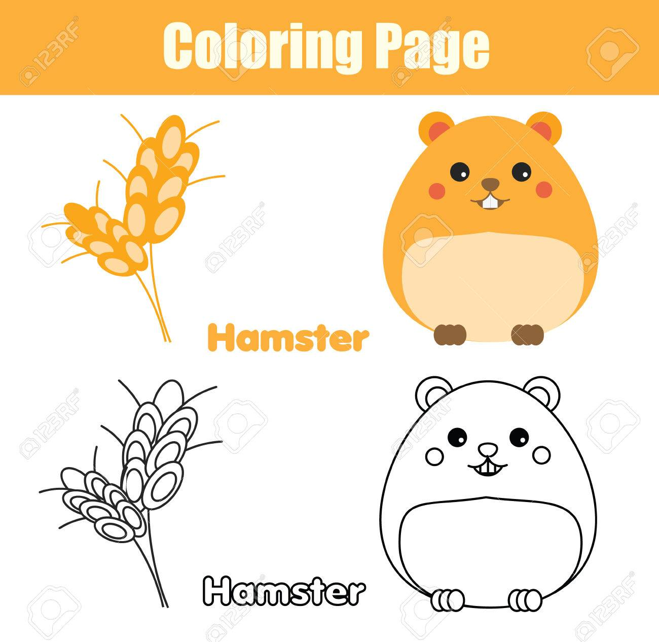 Coloring Page With Hamster Color The Fish Drawing Activity Educational Game For Pre School