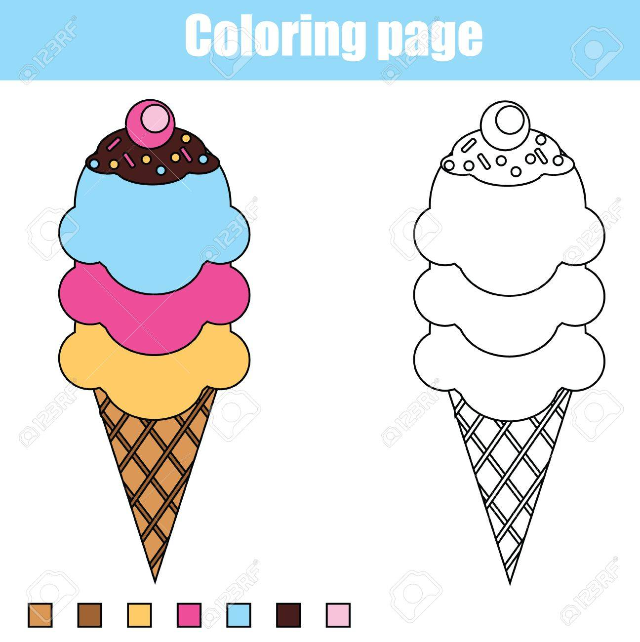 Coloring pictures of ice cream cones - Coloring Page With Ice Cream Cone Color The Ice Cream Drawing Activity Educational Game