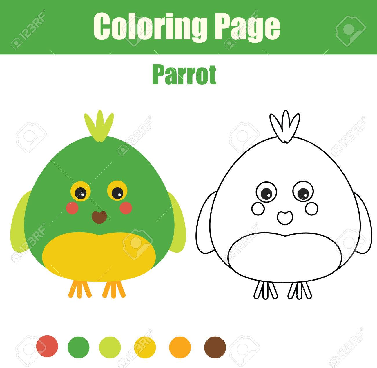 Coloring Page With Parrot. Color The Parrot Drawing Activity ...