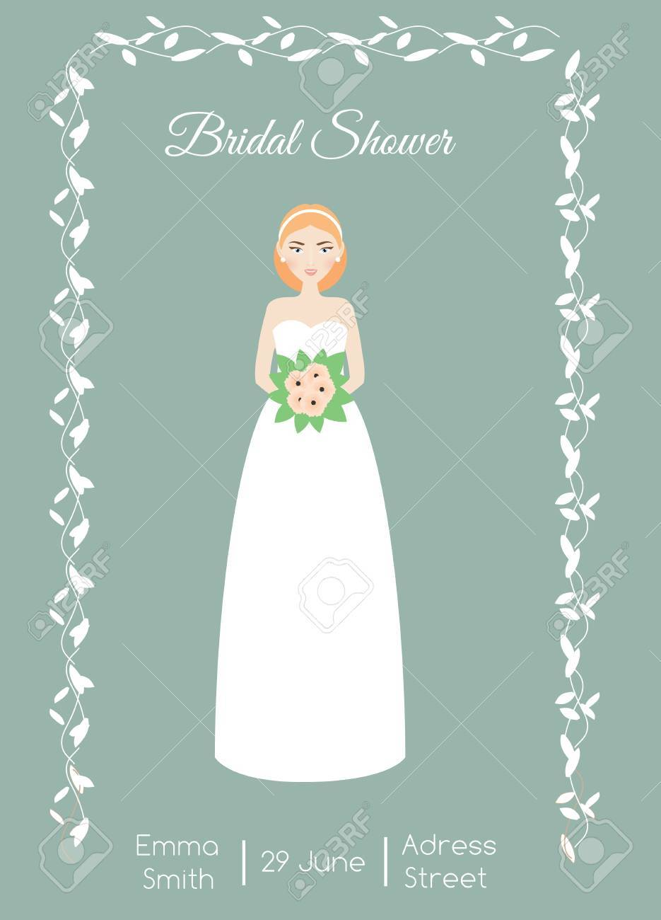 Bridal Shower Card With Smiling Happy Bride. Woman In Fashion ...