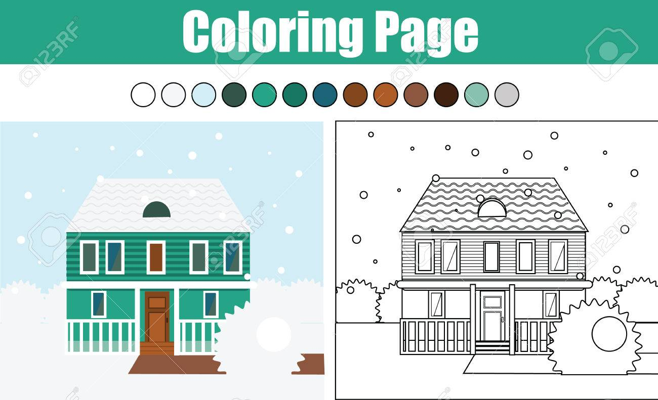 Coloring Page With Winter Cottage House Children Educational Game Drawing Kids Activity Printable