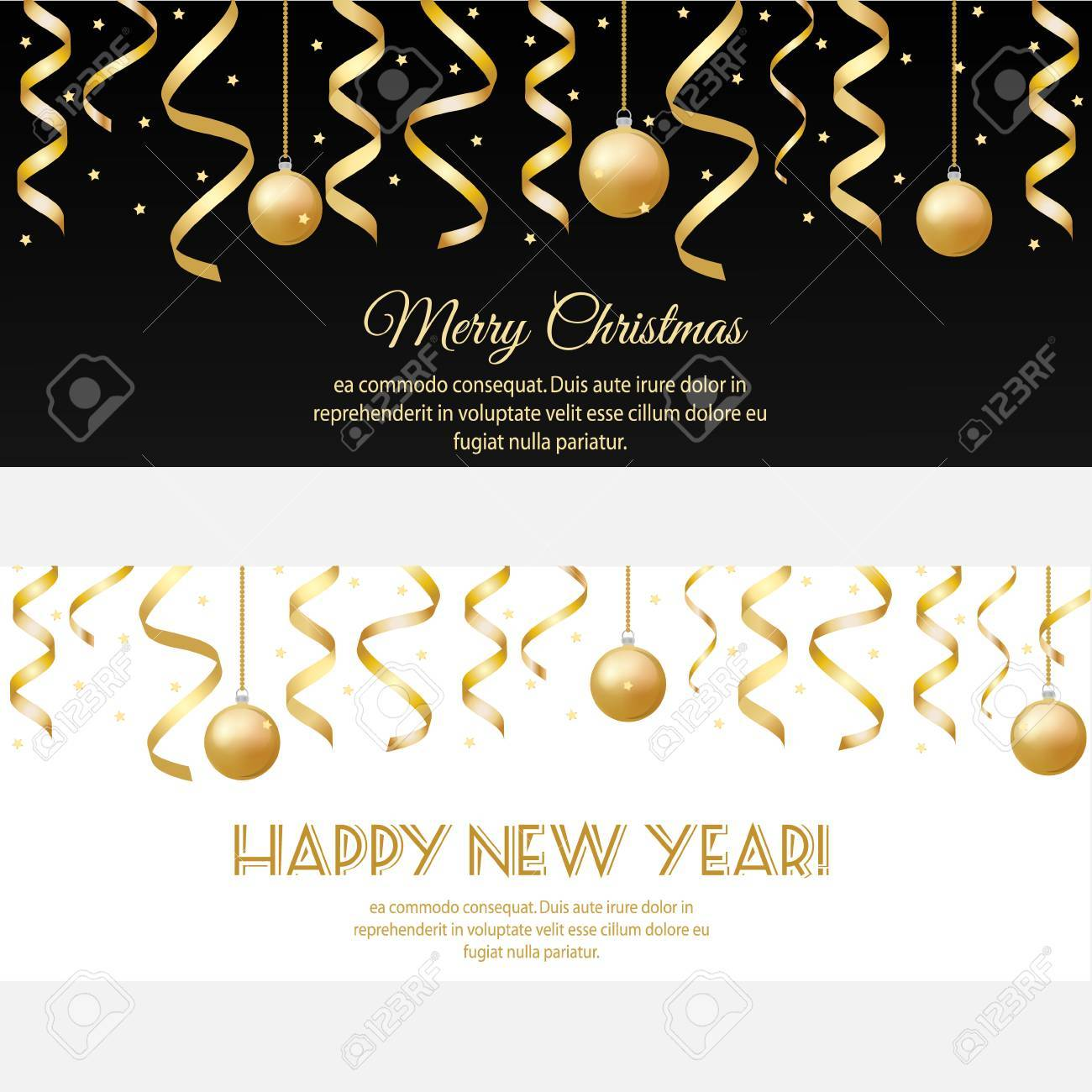 merry christmas happy new year horizontal banners with golden streamers and baubles design template