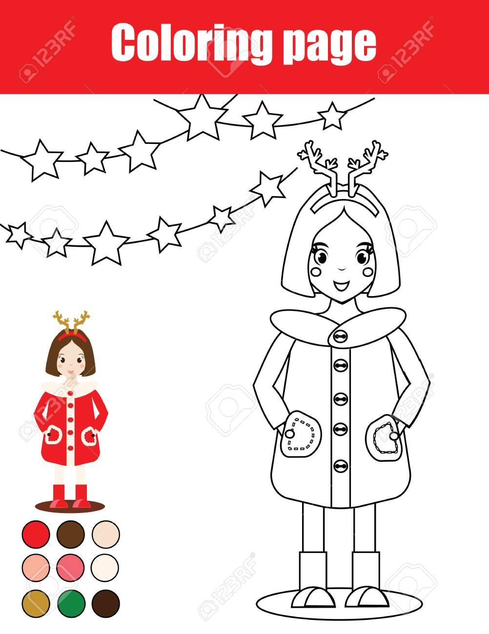 Dibujo Para Colorear Con La Chica De Niño Juego De Los Niños De Educación Actividad De Dibujo Hoja De Trabajo Imprimible Navidad Vacaciones De