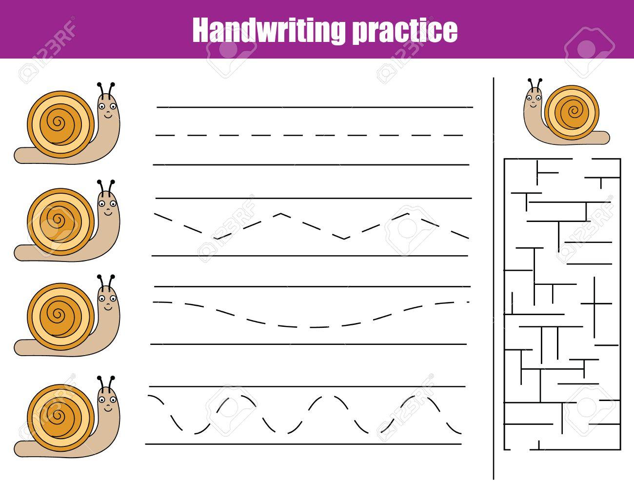 Handschrift Übungsblatt. Educational Kinder Spiel, Aktivität ...
